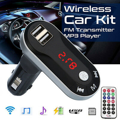 1W 12V Wireless FM Transmitter MP3/WMA Player Handsfree Car Kit USB TF SD Remote