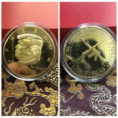 2018 US President Donald Trump Gold Plated Commemorative Coin Double Gun New