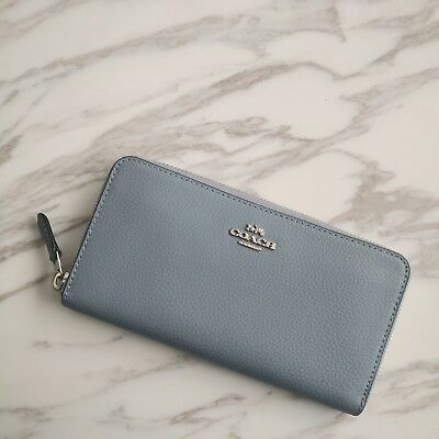 NWT Coach Pebbled Leather Accordion Zip Wallet F16612 Pool (Blue) $250