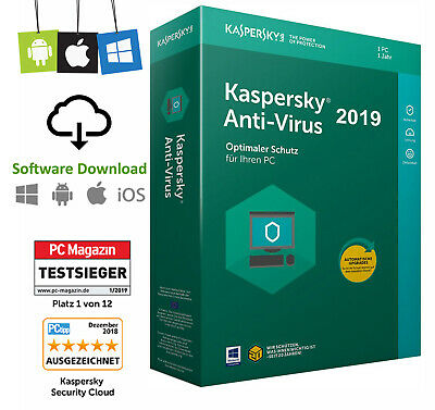 Kaspersky Anti Virus 2019 (1 Device/1PC - 1 Jahr) NEU Vollversion