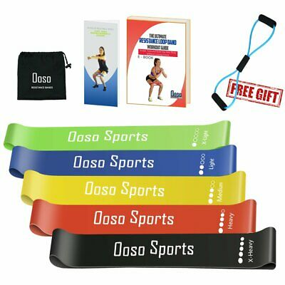 OOSO Resistance Bands Women/Men Set of 5, Exercise Resistance Loop Bands for