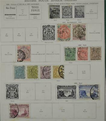 British South Africa Stamps Selection Early Issues On 2 Album Pages (P133)