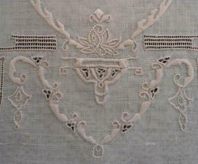 Vtg Set Italian Embroidered Placemats Drawn Thread Art Deco Linen Lace Napkins