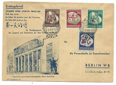 Germany Yr.1951 Ddr East 3Rd World Youth Festival Firstday Cover.