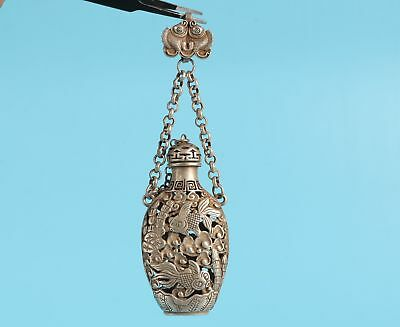 Chinese Tibet Silver Snuff Bottle Pendant Hollow Fish Mascot Decoration Gift