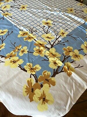 Vintage YELLOW & BLUE Floral Cottage Tablecloth Garden 47 X 53  #3