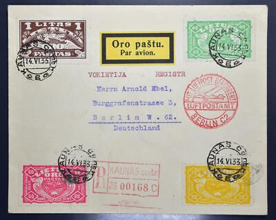 LITHUANIA to GERMANY 1933 Cpl Pigeon Birds Airmails Set on RARE Reg Flight Cover