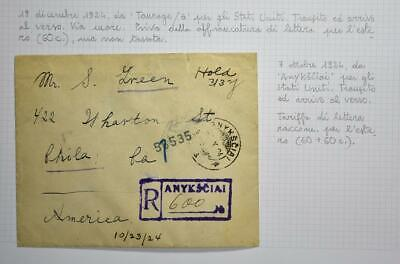LITHUANIA to USA 1924 Letter Pigeon Airmails on Scarce R Cover ANYKSCIAI Lietuva
