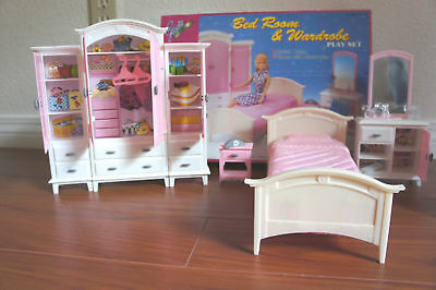 GLORIA DOLLHOUSE SIZE FURNITURE Mega BEDROOM & WARDROBE PLAYSET FOR BARBIE