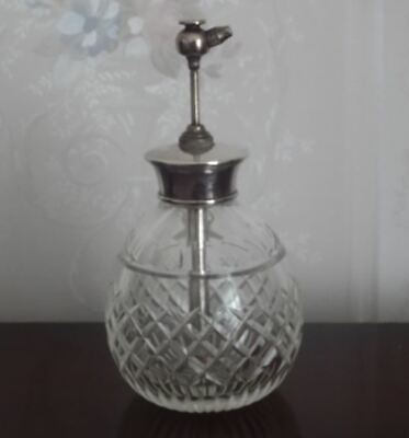 English Sterling Silver Collared Cut Glass Scent Bottle