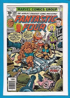 """Fantastic Four #180_March 1977_Very Fine Minus_""""bedlam In The Baxter Building""""!"""