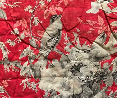 BEAUTIFUL 19th CENTURY FRENCH QUILTED TOILE DE JOY BIRDS 136.
