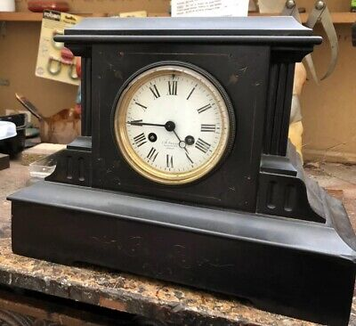 Frence Slate Mantel Clock Working Order No Reserve