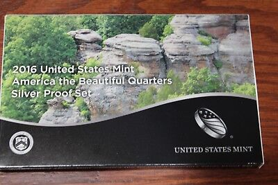 2016-S Parks Quarter America the Beautiful 90% Silver Proof Set OGP 5 US Coins