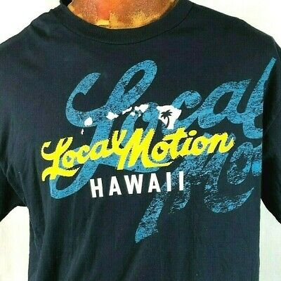 7d93c0f9 Local Motion Hawaii Faux Stitch L T-Shirt Large Mens Aloha Palms Waves  Surfing