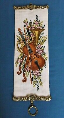 Vintage Hand Embroidered Bell Pull Music Instruments Violin French Horn Brass
