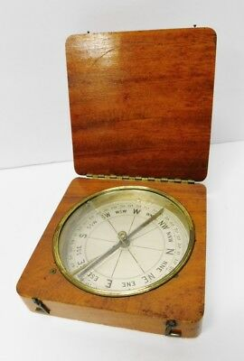 Rare Antique Early Compass in Wood Box Vintage Hinged UNKNOWN