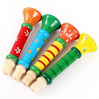 Multi-Color Baby kids Wooden Horn Hooter Trumpet Instruments Music Toys