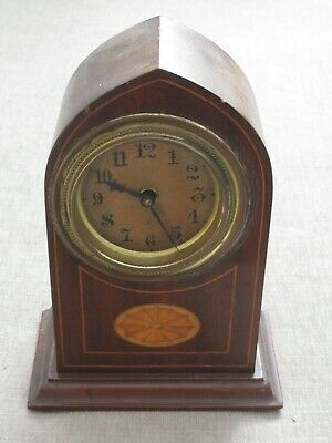 Sheraton style antique inlaid clock for spares or repair