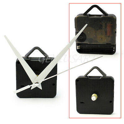 Black Quartz Clock Movement Mechanism Long Spindle White Hands Repair DIY Kit