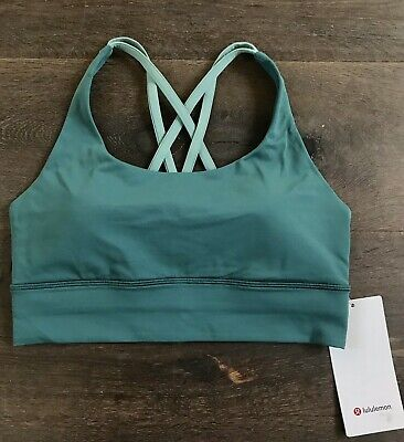 fd8f3bbe3be0b NWT Lululemon Energy Bra Long Line 8~Green Jasper Frosted Pine Pads Inc  58