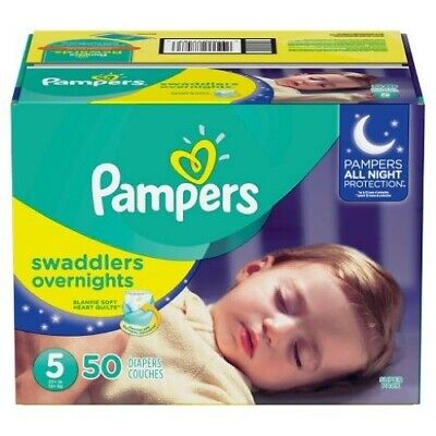 Pampers Swaddlers Overnights Disposable Baby Diapers Size 5 50 Count SUPER