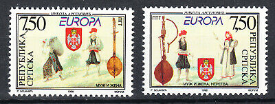 Bosnia Serbia 1998 Europa CEPT National costumes Instruments very fine set MNH