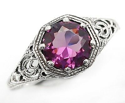 2CT Amethyst 925 Solid Sterling Silver Art Nouveau Ring Jewelry Sz 9