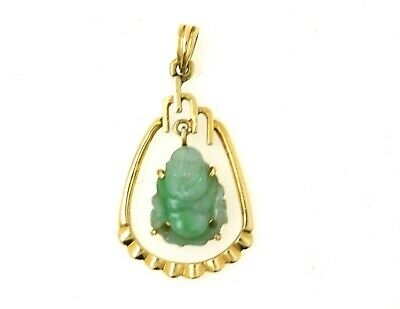 Vintage 14K Gold Pendant W/ Green Chinese Jade Buddha ESTATE FIND