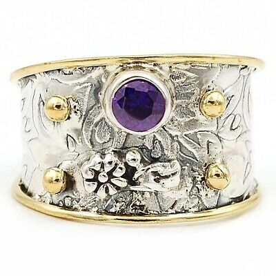 Two Tone Amethyst 925 Solid Sterling Silver Ring Jewelry Sz 11