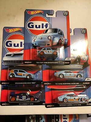 2019 Hot Wheels Car Culture Gulf 5 Car Complete Set (B)