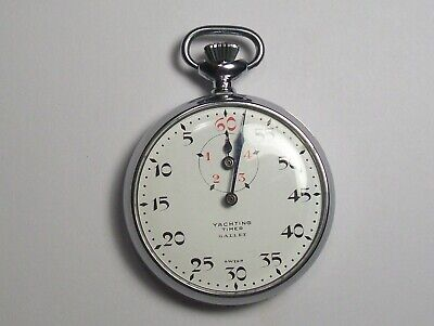 Vintage Yachting Timer Gallet Swiss Pocket Stop Watch Blue Hands Nice!!!!