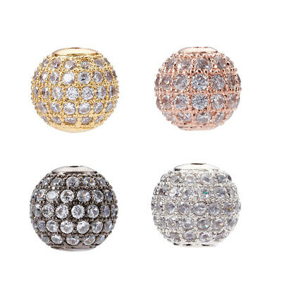 10Pcs Round Brass Micro Pave Cubic Zirconia Beads Jewelry Findings 4mm Hole 1mm