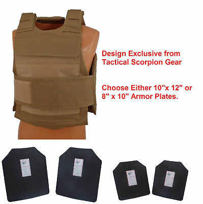 Complete Level III AR500 Steel Body Armor Dual Pocket Lightweight - Coyote Brown