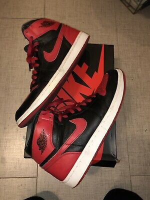 Nike Air Jordan 1 Retro HIGH BAN Size 12 432001-001 BANNED BRED ROYAL 37a29ee7c