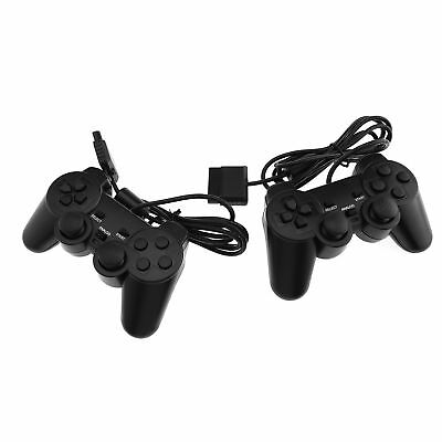 2 Piece Wired Cable Dual Shock Controllers For PS2 Joypad Gamepad Consoles Black