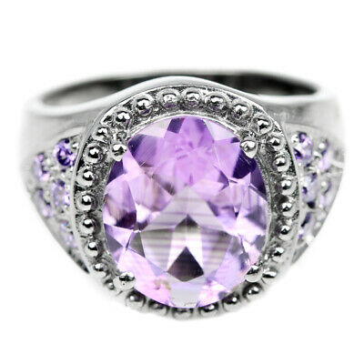 Natural Aaa Purple Amethyst 12X10 Mm. Oval & Cz Sterling 925 Silver Ring Size 8