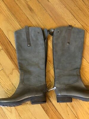 2ce687a984f57 SAM EDELMAN WOMENS Penny Leather Suede Riding Boots Grey Size 7 New ...