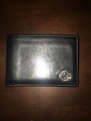 6545f2cdd AUTHENTIC GUCCI WALLET Made in Italy Genuine Black Leather Bifold ...