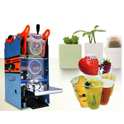 NEW 270W 220V Electric Automatic Plastic Drink Tea Cups Sealer Sealing Machine