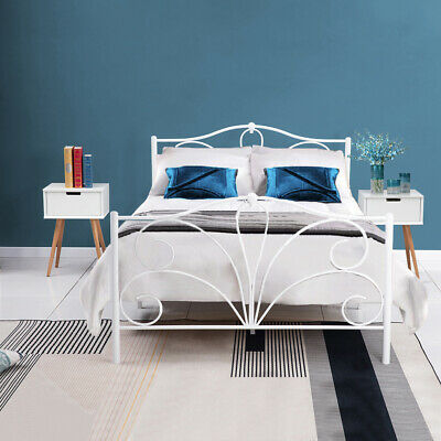 4ft6 Double Bed Frame White Metal Bedstead Strong Structure Bedroom Furniture