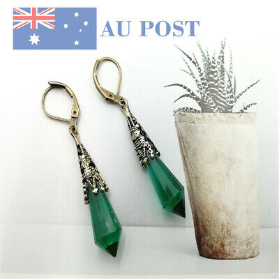 925 Silver Plated Tapered Earrings Filled Greenstone Classic Women Wedding Gifts