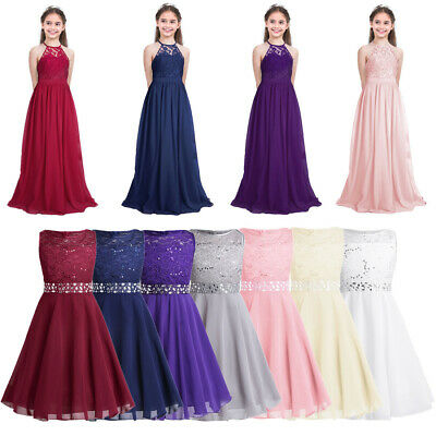 Kids Flower Girl Princess Dress Lace Gown Pageant Wedding Bridesmaid Long Dress