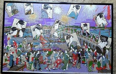 Vintage Japanese Wood Block Ukiyo-E Kitagawa Heads Ryoguko Bridge Sumida River