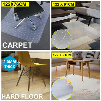 Carpet Floor Chair Mat Office Computer Work Chairmat Vinyl Protector 122X91cm AU