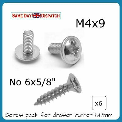 Fixing Screws Pack for h-17mm Grooved Drawer Runners