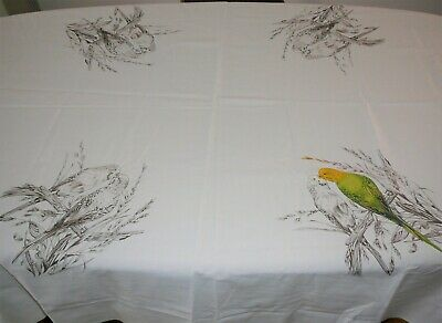 Hobbytex Tablecloth Paint or Embroidery Project Budgies Birds Part completed
