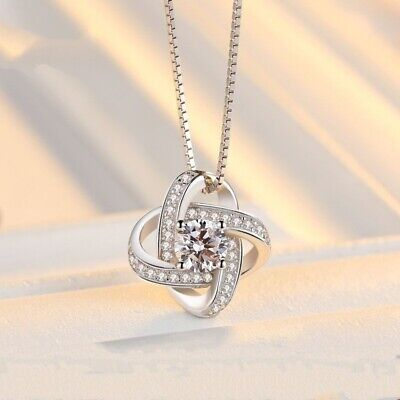 Four-leaf Clover Necklace Women's Plated 925 Silver Zircon Crystal Pendant