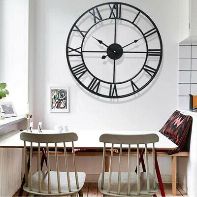 Modern Iron Roman Wall Clock Antique Vintage Metal Skeleton Numeral 40/60CM