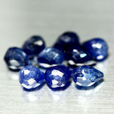 13.45 Ct Natural 9Pcs Blue Sapphire Glass Filled Madagascar Briolette Cut